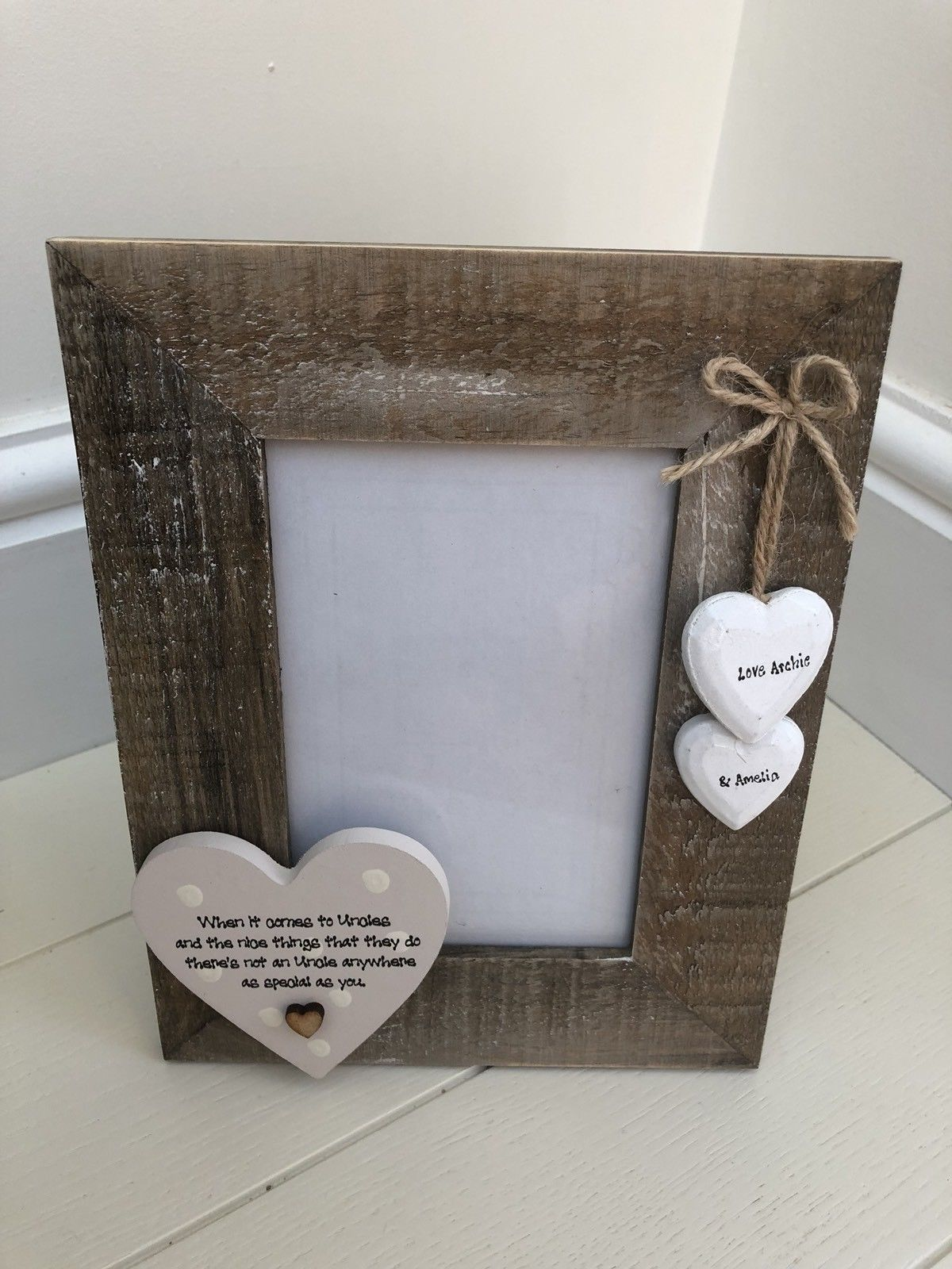Gift Shabby Personalised Chic Photo Frame Special Uncle Present Birthday